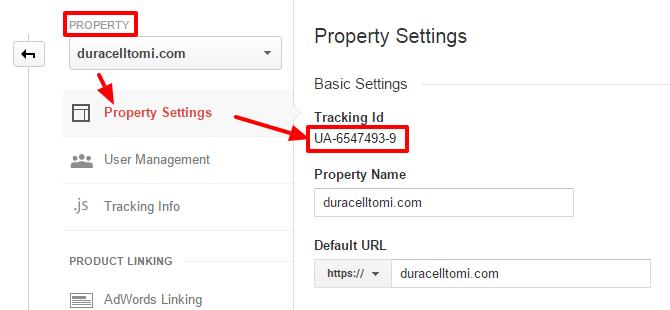 Google Analytics: grab web property ID
