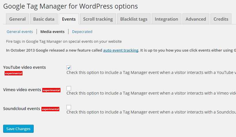 Google Tag Manager for WordPress - Enable media player tracking