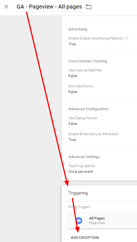 Create exception triggers in Google Tag Manager