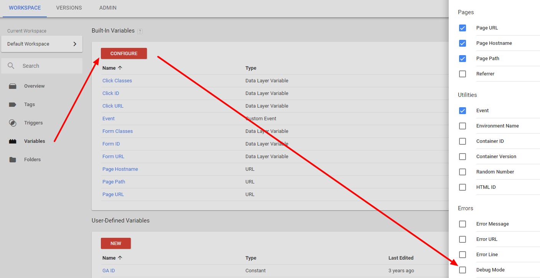 Google Tag Manager: enable Debug Mode variable