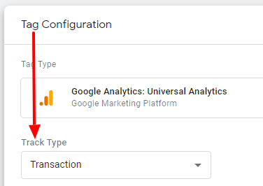 Google Analytics tag with track type set to Transaction