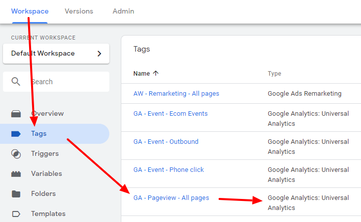 Checking the tag type of your Google Analytics Pageview tag
