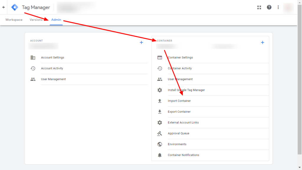 Import Container element in Google Tag Manager admin