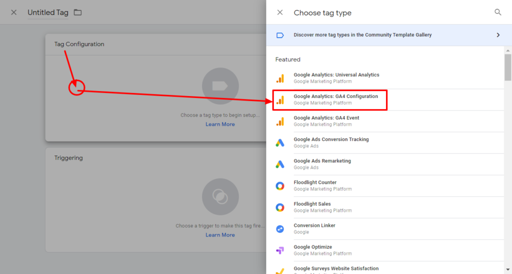 Google Tag Manager for WordPress: add Google Analytics 4 configoration tag