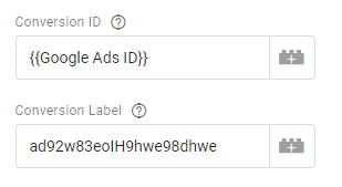 Google Ads conversion ID and conversion label