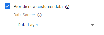 Turning on new customer data in your Google Ads conversion tag.