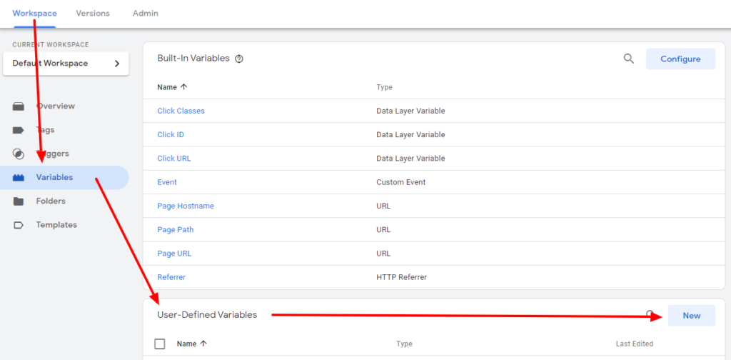 Create a new variable in Google Tag Manager